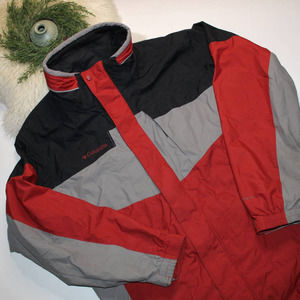 Columbia Red Hoodless Mens Rain Jacket/Coat
